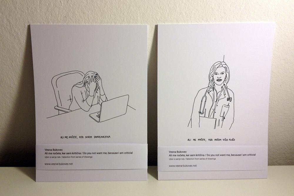 Vesna Bukovec: Ali me nočete, ker sem kritična, izbor iz serije risb